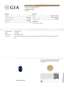 Blue Sapphire 1.12ct Ethiopia No Heat - Far East Gems & Jewellery
