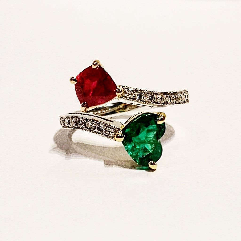 ruby emerald 18k white gold ring with diamonds | Far East Gems & Jewellery