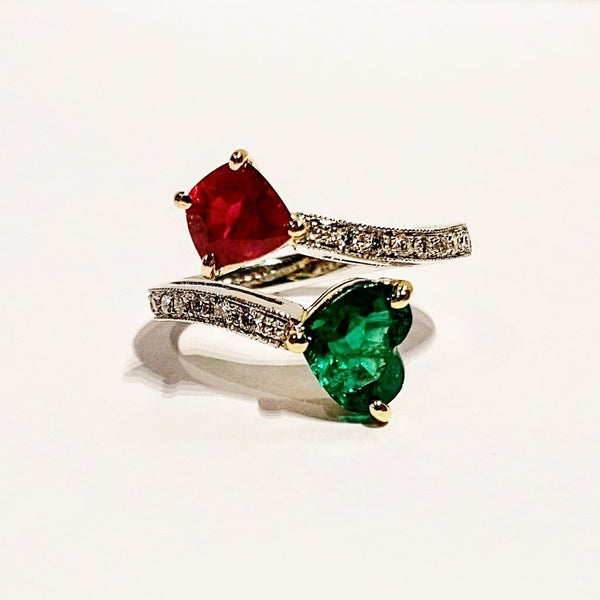 18k white/yellow/rose gold ruby and emerald ring - Far East Gems & Jewellery