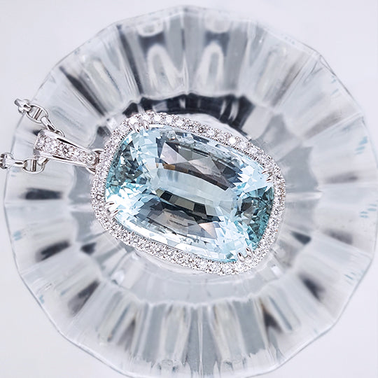 Aquamarine Pendant with Diamonds - Far East Gems & Jewellery
