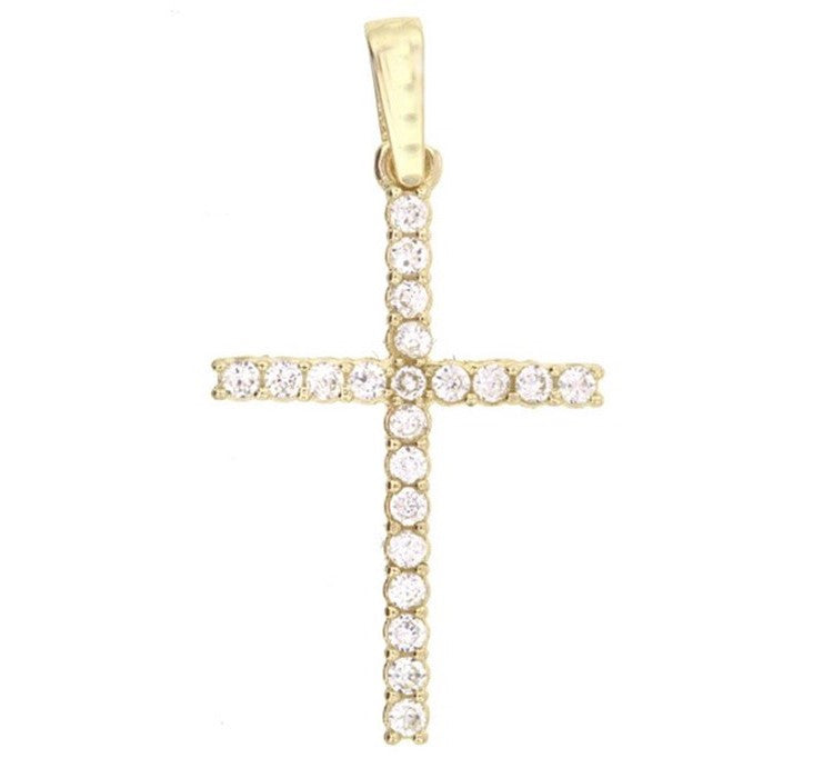 18K Yellow Gold Cross Pendant with Diamonds