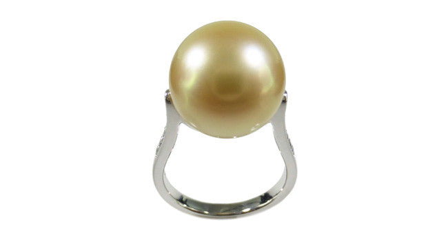 Golden South Sea Pearl Ring with Diamond - Far East Gems & Jewellery