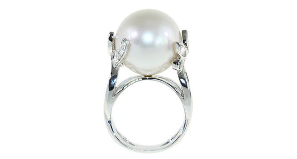 """Imperial"" Pearl Ring with Diamond - Far East Gems & Jewellery"