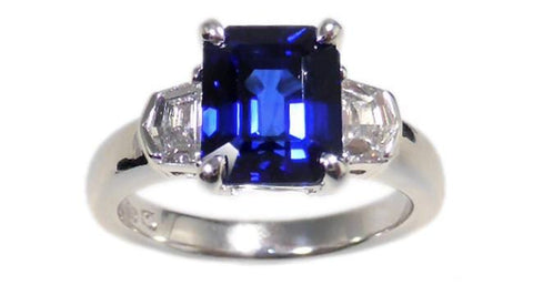 4.00ct Vivid Blue Sapphire Ring - Far East Gems & Jewellery
