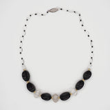 Onyx and quartz necklace