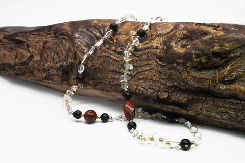 Jasper and quartz necklace