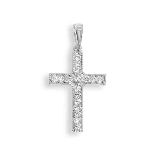 White Gold Cross Pendant with Diamonds 18K - Far East Gems & Jewellery