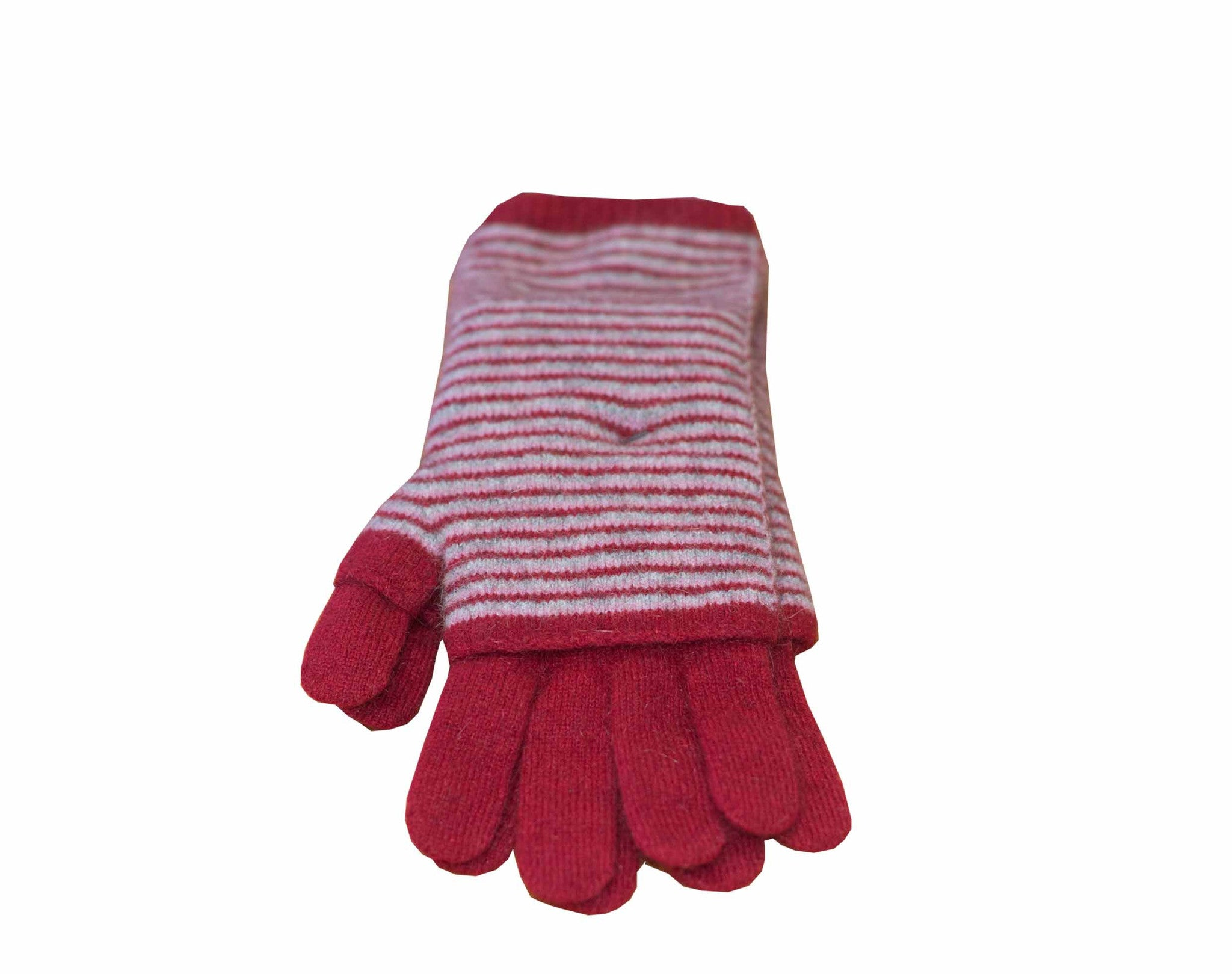 Merino glove 3 way in berry colour