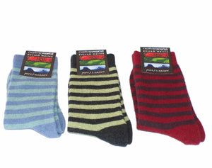 Merino Two Tone Striped Sock BlueBell/Char/Rasp NX691