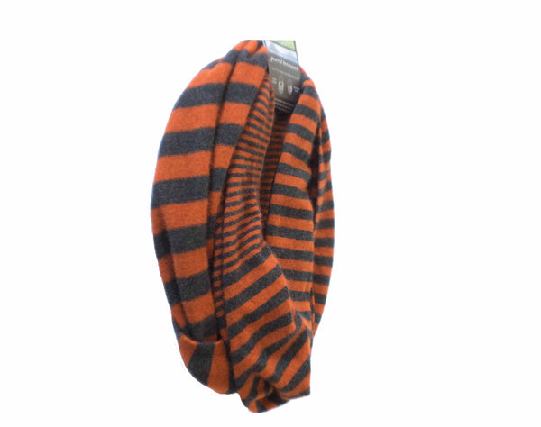 Merino Stripe Endless Scarf Rust