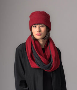 Two Tone Endless Scarf - Berry