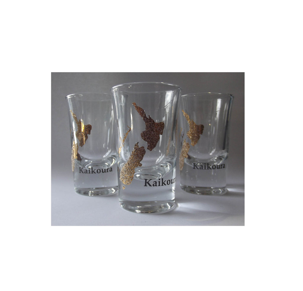 NZ made souvenir - NZ map shot glass