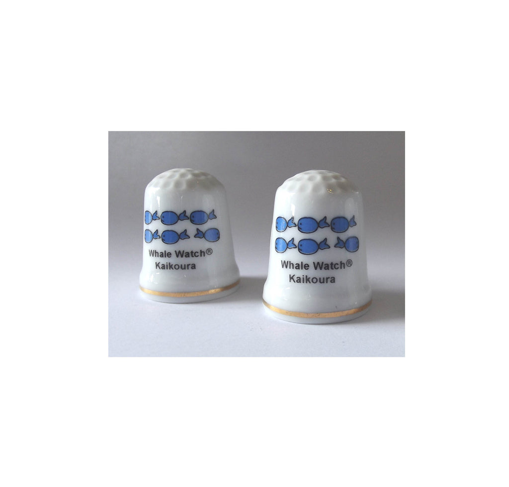 NZ made souvenir - ceramic thimble with whale design