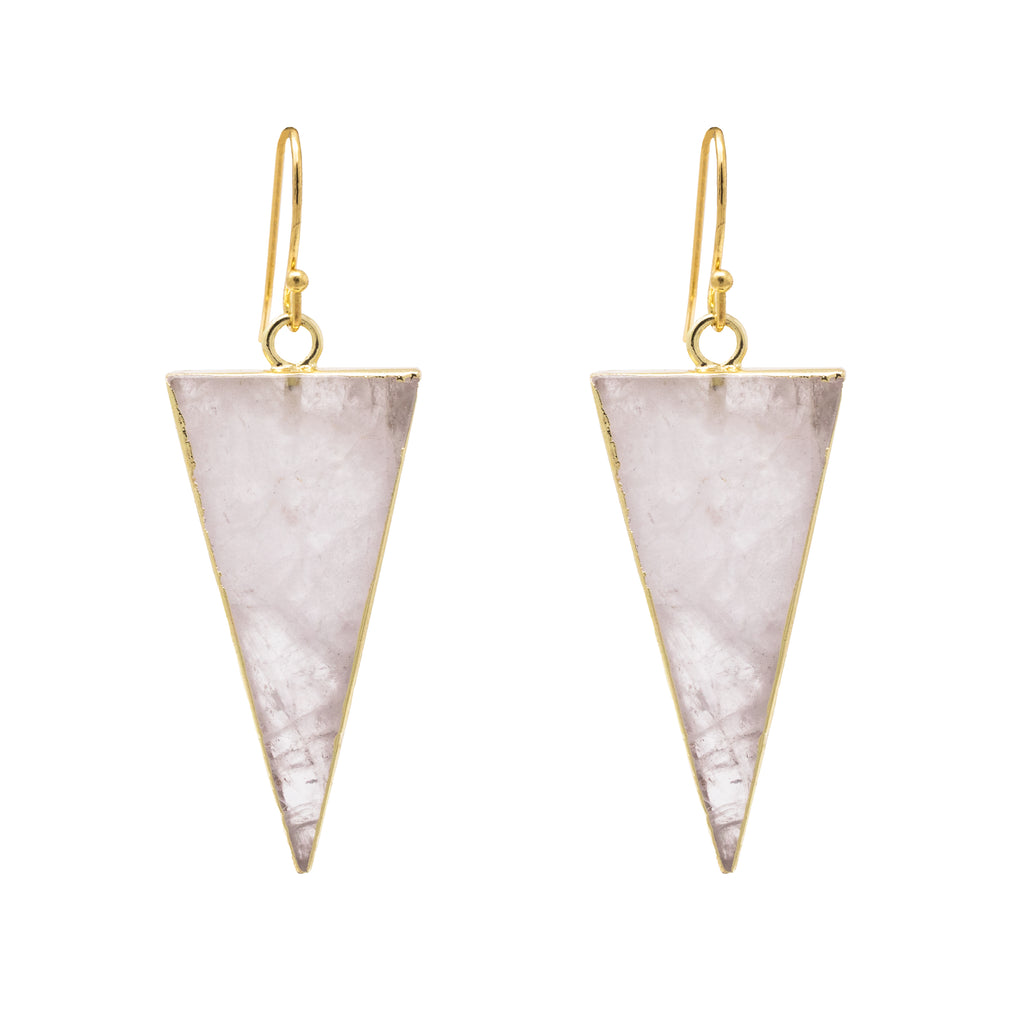 Quartz Triangle Earrings
