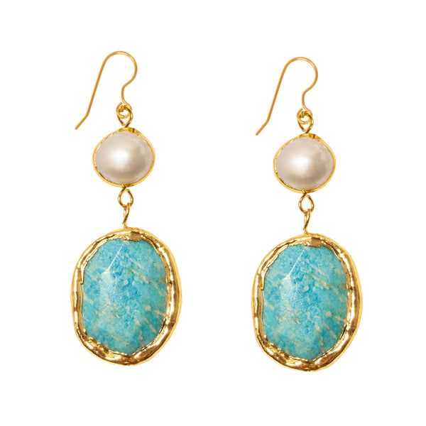 Pearl Amazonite Earrings