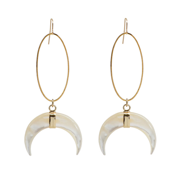 Oval Mother of Pearl Crescent Earrings