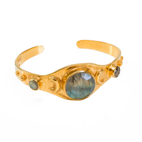 Labradorite Crescent Bangle