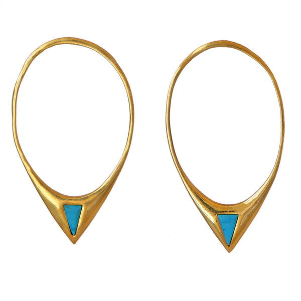 Open Hoop Turquoise Triangle