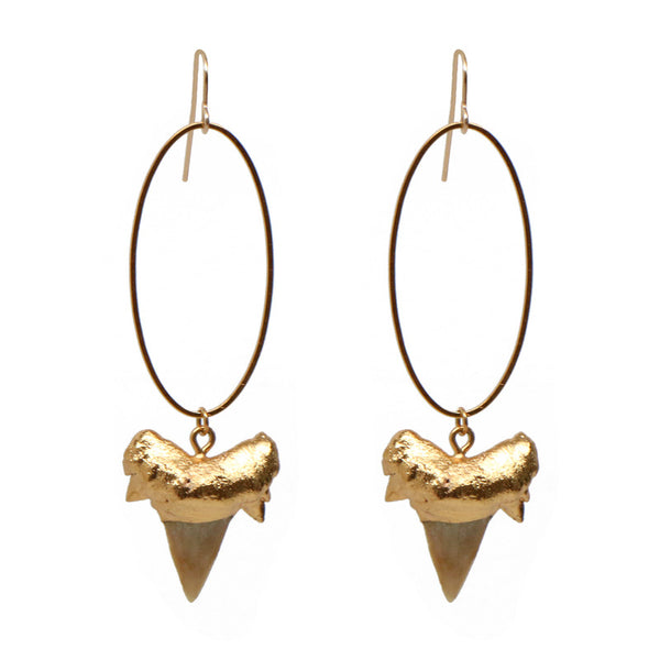 Shark Tooth Oval Earrings