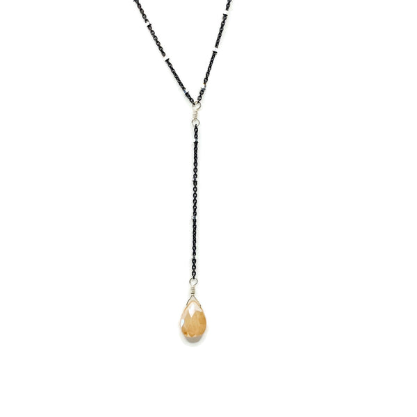 Peach Moonstone Black Chain Lariat