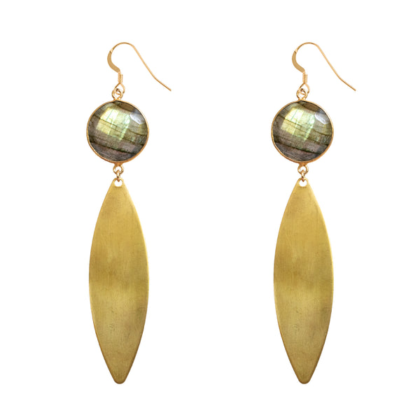 Labradorite Brass Teardrop Earrings