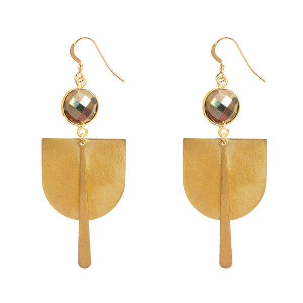 Pyrite Brass Shield Earrings