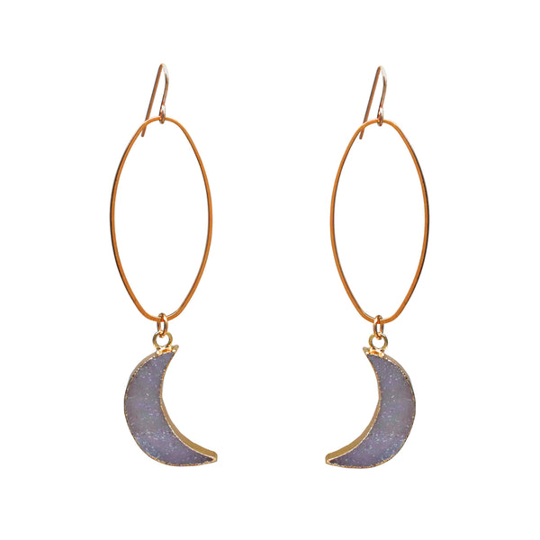 Druzy Moon Oval Earrings