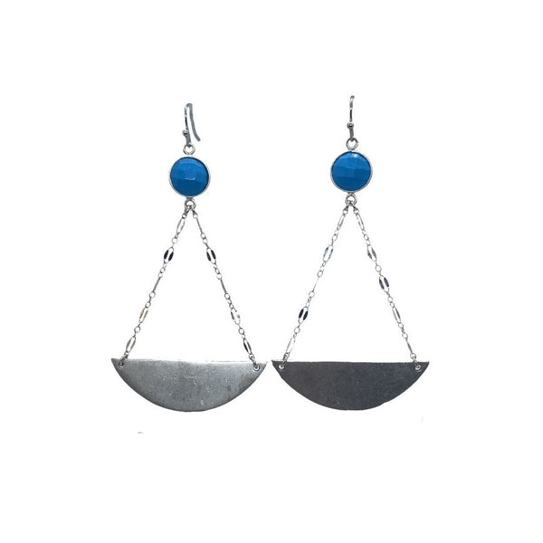 Turquoise and Silver Chain Earring