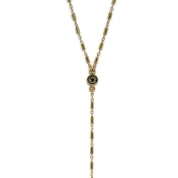Long Pyrite Lariat Necklace