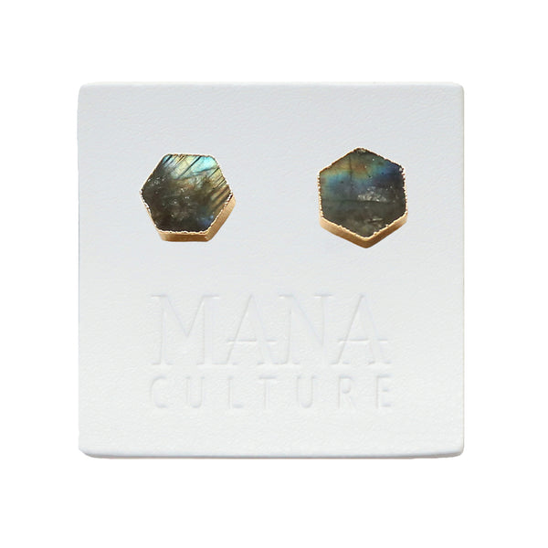 Labradorite Hexagon Studs