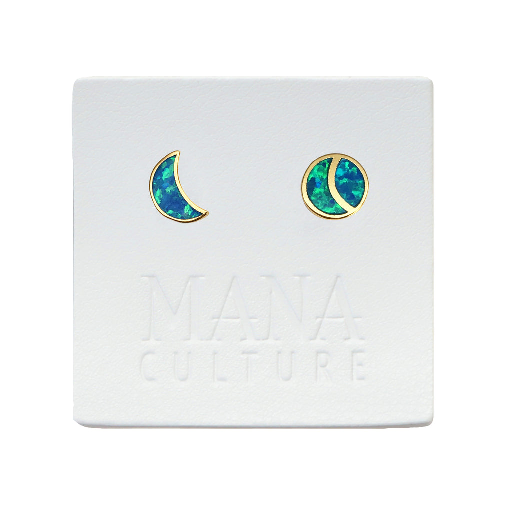 Mix Moon Fire Opal Studs