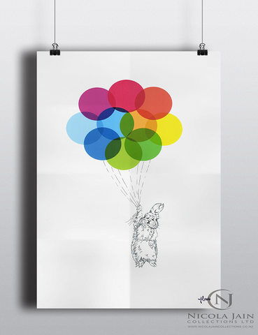 Childs Print - Bunny & Balloons