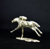 Sterling Silver Racehorse & Jockey Sculpture by N Lewis