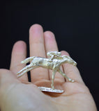 Sterling Silver Racehorse & Jockey Sculpture in hand