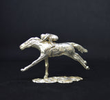 Sterling Silver Racehorse & Jockey Sculpture