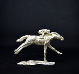 Sterling Silver Racehorse & Jockey Sculpture by Nicola Lewis