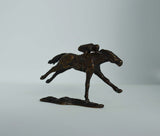 """Mini Racer"" Solid Bronze Sculpture of Horse & Jockey"