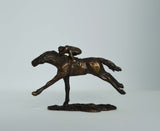 bronze horse and jockey by artist Nicola Lewis