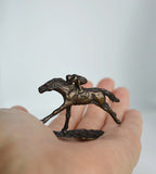 Mini Bronze sculpture Jockey and Horse