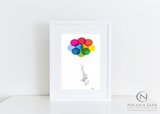 Childs Print - Elephant & Balloons