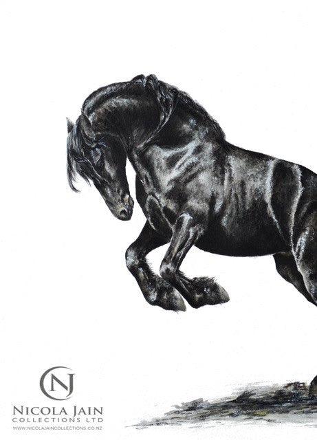 """Leap of Faith"" Friesian Horse Original Painting"