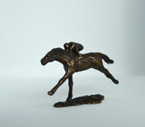 small bronze horse and jockey by artist Nicola Lewis