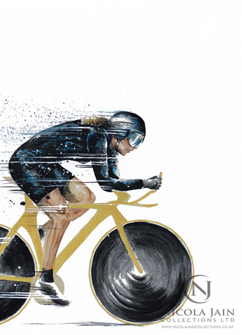 "Female Cycling Print "" Track Chick"""