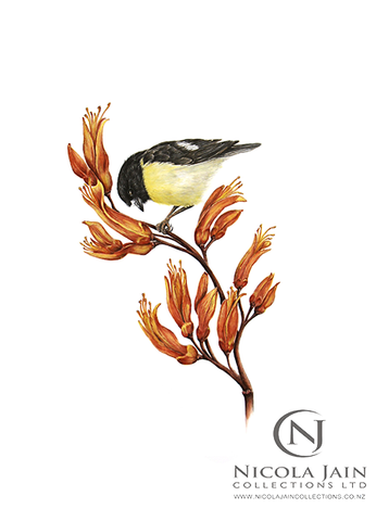 """Tomtit on Flax Flower"" Print"