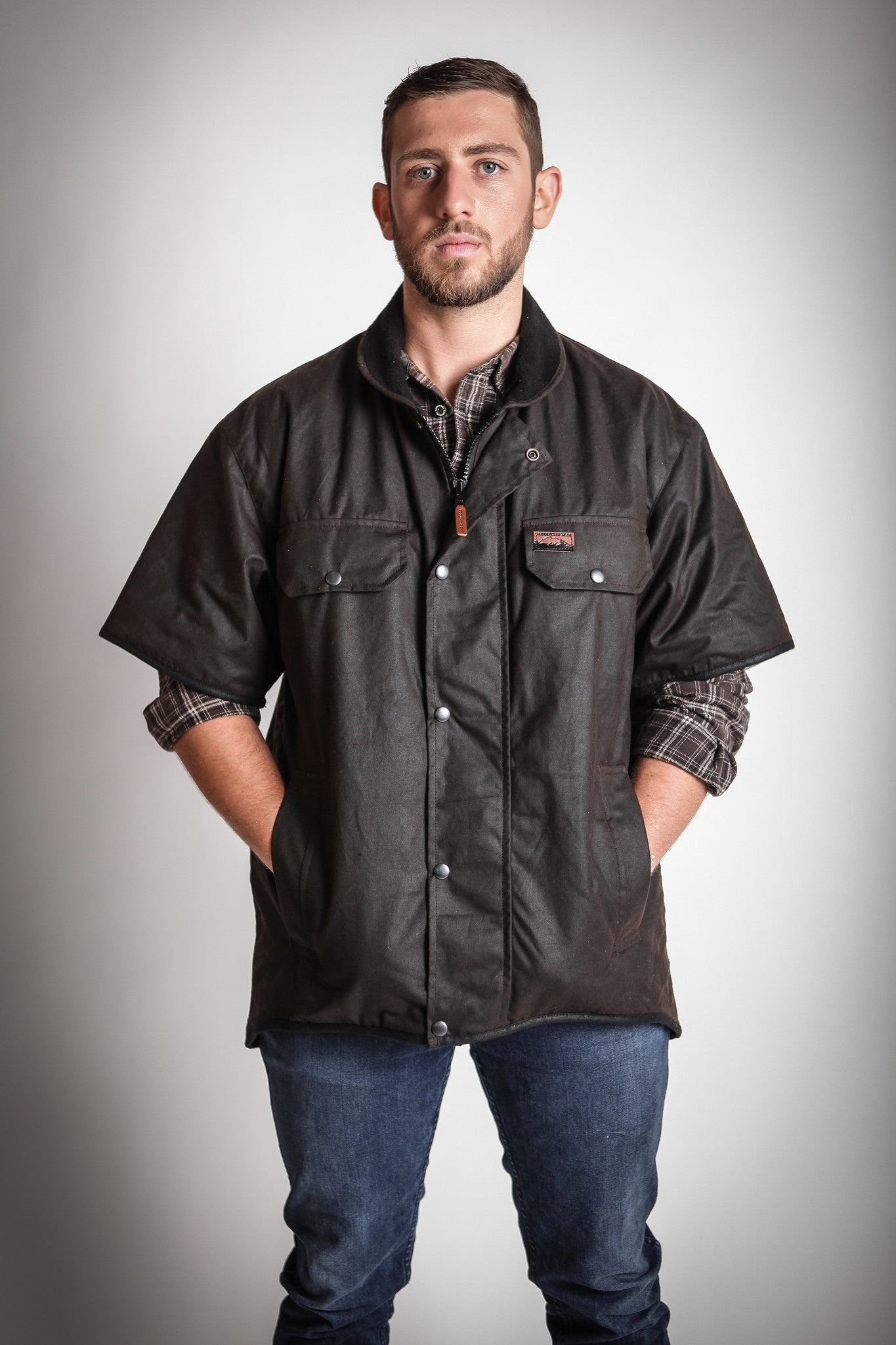 Oilskin vest with sleeves