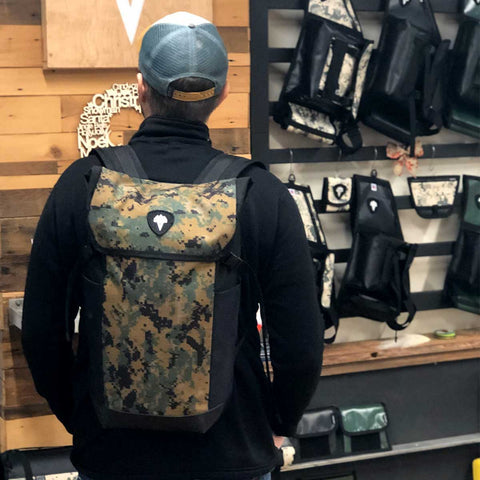Model wearing the VEDAVOO MainSTREAM Daypack