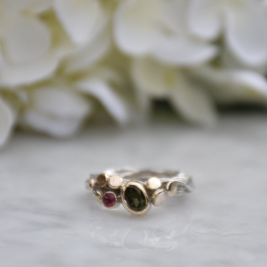 Tourmaline Gold & Silver Ring
