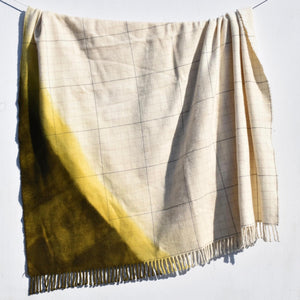 Hand Woven Lambswool Olive Green Blanket