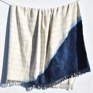 Hand Woven Lambswool Rich Blue Blanket
