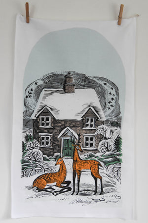 Winter Cottage Teatowel